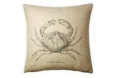 Crab 20x20 Cotton Pillow, Natural
