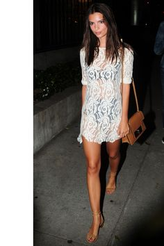 Who: Emily Ratajkowski What: A Sheer Lace Dress Why: For post-beach chic, the genetically-blessed actress and model stepped out in a lace dress with a black bathing suit underneath. Only the confident need apply. Sheer Lace Dress, White Dress, Black Laces, Skirt Outfits, Passion For Fashion, Celebrity Style, Dress Up, Style Inspiration, Fashion Outfits