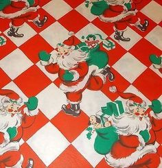 VTG CHRISTMAS WRAPPING PAPER GIFT WRAP MID CENTURY 1940 DENNISON SANTA…