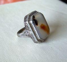 Vintage Art Deco Moss Agate Ring Filigree by OldTreazureTrunk, $72.00
