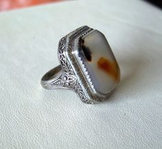 Vintage Art Deco Moss Agate Ring Filigree by OldTreazureTrunk, $72.00