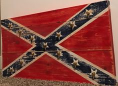Distressed Confederate Flag Pine Wood Rebel Flag by DTAdesigns31