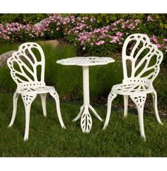 TWIN BUTTERFLY ALUMINUM BISTRO SET Bring some of the garden to your patio with Bistro Set from Flower House. Features 2 chairs and a table all made from sturdy Aluminum, which will never rust.