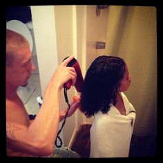 Oh how cute to see the men tackle natural hair.