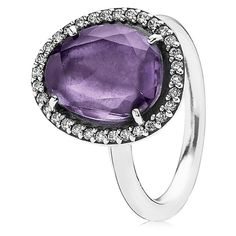 Pandora Glamorous Legacy Silver Amethyst & Cz Ring (£43) ❤ liked on Polyvore featuring jewelry, rings, jewelry & watches, nocolor, pandora jewelry, oval cubic zirconia ring, silver cubic zirconia rings, pandora rings and amethyst rings