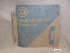 SOUTHWESTERN BELL! VINTAGE PHONE BOOTH SIGN! EXACT VTG. UNKNOWN! CHALKY! AS IS!