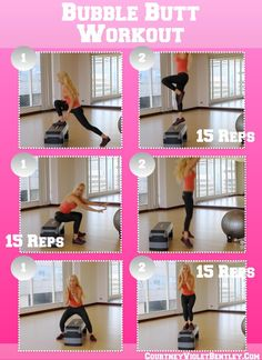 3 Exercises to a Bubble Butt: Best Movements to Tone your BUTT (Step Sport Exercise) Step Up Workout, Bubble Butt Workout, Mommy Workout, Workout Fitness, Gym Workouts, Workout Routines, Step Aerobics, Aerobics Workout, Workout Machines
