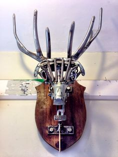 Stags head from bicycle parts
