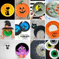Paper plate Halloween crafts for kids: black cats, Jack-O-Lantern, witches, bats, Halloween wreath, ghosts, vampire, spiders,
