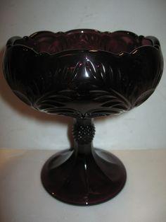 Amethyst purple Glass compote candy dish thistle patten dessert bowl black rose