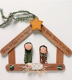 Nativity arts and crafts for kids to make. Best nativity crafts ideas using craft sticks, wooden doll pegs, paper, clay, clay pots. Nativity crafts for adults. Make Christmas nativity art. Nativity Ornaments, Nativity Crafts, Christmas Nativity, Noel Christmas, Diy Christmas Ornaments, Christmas Gifts, Christmas Decorations, Simple Christmas, Nativity Scenes