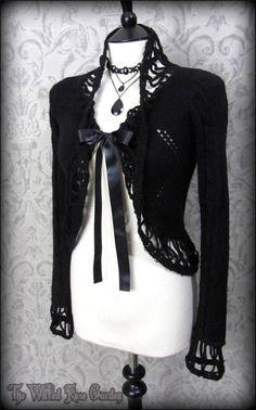 Gothic Romantic Black Fringed Mohair Knit Bolero Cardigan 8 Vtg Victorian Doll | THE WILTED ROSE GARDEN