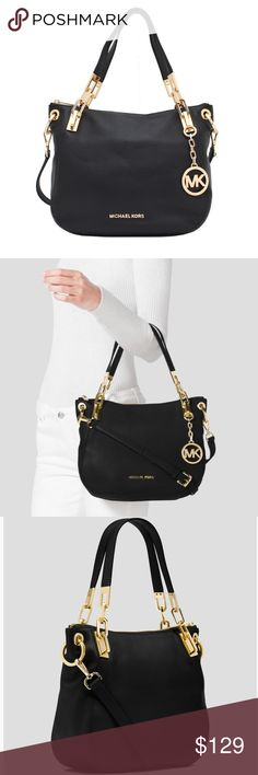 """Michael Kors Black Brooke Medium Shoulder Bag In excellent used condition. Used for about 4 months but took fantastic care of it. Pebbled leather is pristine, no marks or scratches. Swinging MK logo medallion.  Gleaming gold-tone hardware is in great shape w/ normal signs of use. Has an adjustable cross body strap and two shorter shoulder/arm straps. Inside is black with two side cellphone/small pockets and a zipped one on the other side. About 14"""" wide and 10"""" high. Perfect size for…"""