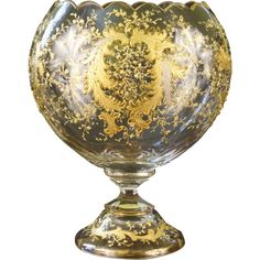 Antique Moser cut glass vase with Gold and Platinum from Gilded Age Dining on Ruby Lane