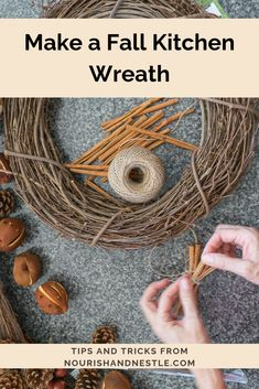 Learn how to make this gorgeous fall wreath with natural fall elements found in your own home with this easy tutorial. Valentine Day Wreaths, Easter Wreaths, Fall Wreaths, Dried Orange Slices, Make Your Own Wreath, Indoor Wreath, Autumn Crafts, Brown Floral, Summer Wreath