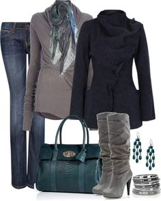 A fashion look from December 2012 featuring Rick Owens Lilies sweaters, Gróa jackets and MANGO jeans. Browse and shop related looks. Pretty Outfits, Fall Outfits, Casual Outfits, Cute Outfits, Pretty Clothes, Casual Wear, Look Fashion, Fashion Outfits, Womens Fashion