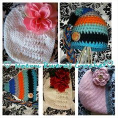 Crochet baby hats different designs handmade by noemi rivera