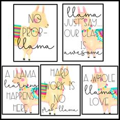 Llama Poster Set by O Kindergarten New Classroom, Classroom Crafts, Classroom Design, Classroom Themes, Preschool Crafts, Preschool Curriculum, Kindergarten Teachers, Beginning Of School, New School Year