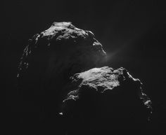 omet 67P on 4 November - NAVCAM  This mosaic comprises four individual NAVCAM images taken from 31.8 km from the centre of Comet 67P/Churyumov-Gerasimenko on 4 November 2014. The image resolution is 2.7 m/pixel and thus each original 1024 x 1024 pixel frame measured 2.8 km across. The mosaic has been slightly rotated and cropped, and measures roughly 4.6 x 3.8 km.   Credit: ESA/Rosetta/NAVCAM, CC BY-SA 3.0 IGO