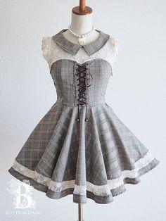 🌹LIZ LISA🌹Glen-check Lace-up Dress Gray Preppy LARME Lolita Hime Japan-M D526 #LIZ_LISA Cute Casual Outfits, Pretty Outfits, Pretty Dresses, Beautiful Dresses, Emo Outfits, Kawaii Clothes, Kawaii Dress, Kawaii Fashion, Lolita Fashion