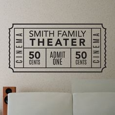 home theater decor Personalized Family Movie Theater Ticket - Dana Decals - 1 Theater Room Decor, Movie Theater Rooms, Home Theater Setup, Home Theater Seating, Cinema Room, Movie Rooms, Cinema Theatre, Cinema Sign, Movie Theater Basement