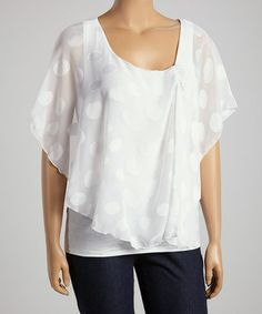 Another great find on #zulily! White Dot Layered Top - Plus #zulilyfinds