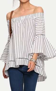 To find out about the Bardot Bell Sleeve Vertical Striped Blouse at SHEIN, part of our latest Blouses ready to shop online today! Mode Glamour, Look Girl, Urban Chic, Passion For Fashion, Spring Summer Fashion, Blouse Designs, Casual Outfits, Street Style, Clothes For Women
