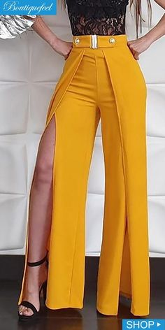 Solid High Waist Slit Leg Pants Source by Trend Fashion, Fashion Pants, Fashion Dresses, Fashion Design, Dope Fashion, Sporty Fashion, Ski Fashion, Fashion Spring, Winter Fashion