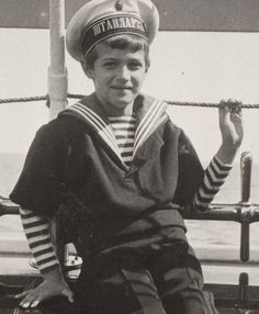Alexei on the Imperial yacht Standart.  From tumbler-God Save the Tsar!