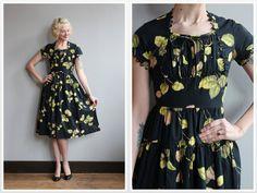 1950 Платье // Свежий Блум платье // старинные Вики Вон 50s платье