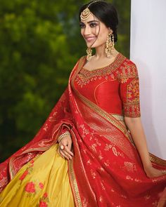 Buy Classy Red and Yellow Jacquard Silk Lehenga Choli Indian wedding lehenga choli online in USA, UK, Canada, and Australia from VJV Fashions com by designer Bollywood Celebrities, Bollywood Fashion, Bollywood Actress, Pink Lehenga, Lehenga Choli, Lehenga Blouse, Designer Bridal Lehenga, Designer Sarees, Designer Wear