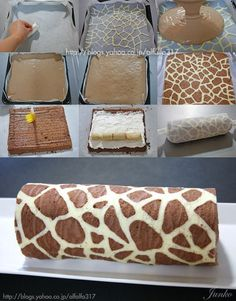 Sorry, picture tutorial only! Banana Roll Cake with Giraffe Pattern. This would be adorable for a safari themed baby shower or birthday party.