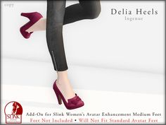 Ingenue  Delia Shoes, 12 variations available - Demo available - Slink add-on  for Women's Avatar Enhancement Medium Feet - 188L each - 1088L fatpack