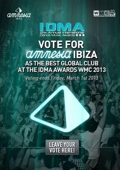 Vote Amnesia Ibiza as BEST GLOBAL CLUB at IDMA awards!