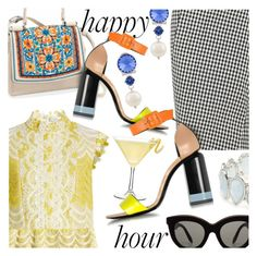 """""""Happy Hour"""" by stacey-lynne ❤ liked on Polyvore featuring Altuzarra, Erdem, Brighton, Victoria Beckham, Kim Rogers, Miu Miu and Pierre Hardy"""