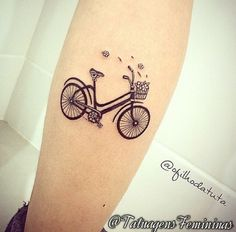 What does bicycle tattoo mean? We have bicycle tattoo ideas, designs, symbolism and we explain the meaning behind the tattoo. Ankle Tattoos For Women, Tattoos For Women Small, Small Tattoos, Unique Tattoos, Mini Tattoos, Body Tattoos, Tatoos, Cycling Tattoo, Bicycle Tattoo