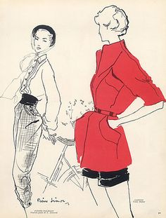 Pierre Simon 1949 Pierre Balmain & Carven, Fashion Illustration