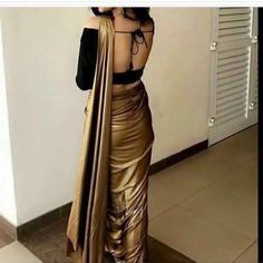 Gold shimmer georgette Saree