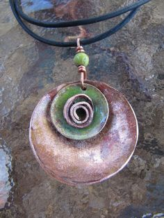 enamel on hammered copper jewelry
