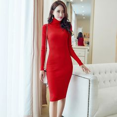 Women Winter Knit Dresses Elegant 2017 Woman Autumn Full Long Sleeve Turtleneck Casual Slim Solid Warm Sweater Dress Vestidos
