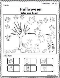 Free Math Worksheet for Halloween Color and count the Halloween pictures to build number recognition and number sense up to Halloween Craft Activities, Halloween Worksheets, Halloween Math, Autumn Activities For Kids, Halloween Crafts For Kids, Preschool Activities, Halloween Pictures, Kindergarten Math Worksheets, In Kindergarten