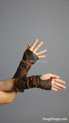 Dark Brown Fingerless Leather Gloves, Long | Mad Max Capable Furiosa Post apocalyptic Hunter Barbarian| Festival Burning Man Costume Cosplay