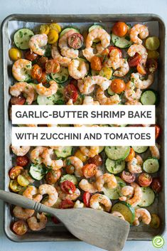 Garlic-Butter Shrimp Bake with Zucchini and Tomatoes with Angel Hair Pasta from the eMeals Budget Friendly plan Shrimp Recipes, Keto Recipes, Cooking Recipes, Healthy Recipes, Cooking Fish, Fish Recipes, Shrimp Bake, Baked Shrimp, Diet