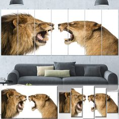 Designart 'Lion and Lioness Roaring' Animal Wall Art Print