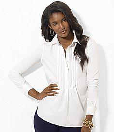 Lauren Ralph Lauren Pintucked Cotton Tunic #Dillards