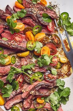 Grilled Flank Steak with Tomato Salad Beef Flank, Flank Steak Recipes, Beef Recipes, Grill Recipes, Carb Free Recipes, Healthy Recipes, Beef Dishes, Food Dishes, Boyfriend Sayings
