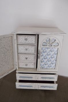 Vintage Farmhouse Jewelry Box Painted in French by Eweniques, $107.00