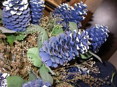 "why am I missing other sites - has to be more Bluebonnet painted Pinecones (besides the antler tree) thanks to kimnovack.me ""I am not an actress"" Christmas Deserts, Christmas Holidays, Christmas Crafts, Texas Independence Day, Texas Crafts, Painted Pinecones, Crafts For Kids, Diy Crafts, Pine Cone Crafts"