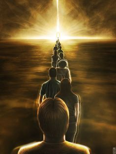 The perfect depiction of souls going to the light, recently departed and ready for the next part of their journey. Beautiful!
