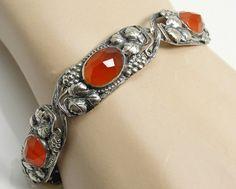 1920s Art Nouveau Sterling Silver Amber Czech Glass by panthia, $110.00